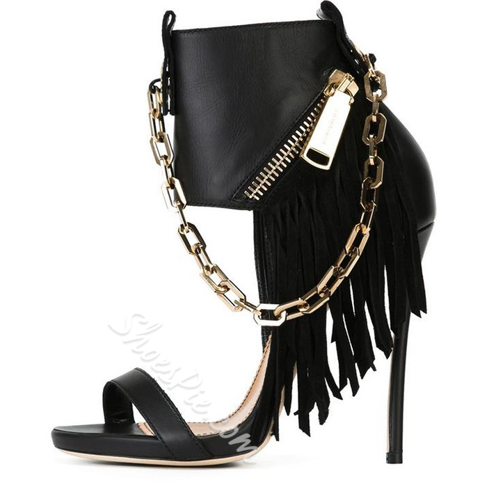 Shoespie Black Color Punk Chains and Tassels Side Zipper Sandals