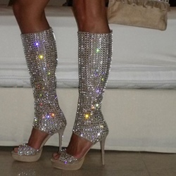 Shoespie Glittering All Rhinestone Platform Gladiator Sandals