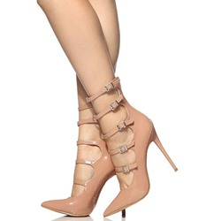 Shoespie Nude Multi Buckles Stiletto Heels