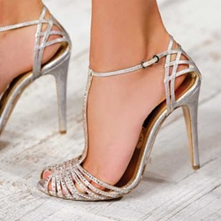 Shoespie Silver Narrow Strap Cutout Dress Sandals