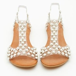 Shoespie Lolita Pearls Beading Flat Sandals