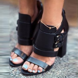 Shoespie Black Chunck Heel Gladiator Sandals