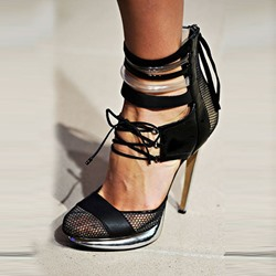 Shoespie Designed Mesh Toe Lace Up Platform Heels