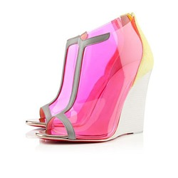 Shoespie Rose PVC Peep Toe Wedge Heels