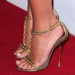 Shoespie Golden T Chains Strappy Dress Sandals
