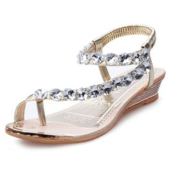 Shoespie Cute Crystal Slip On Flat Sandals