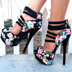 Shoespie Flower Print Peep Toe Back Zipper Platform Heels shoespie