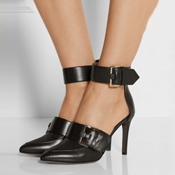 Shoespie Black Buckles Ankle Wrap Stiletto Heels