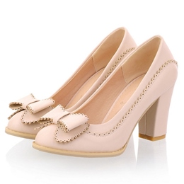 Shoespie Sweet Bowtie CHunky Low Heels