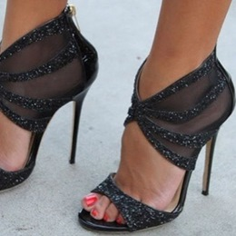 Shoespie Black Back Zipped Dress Sandals