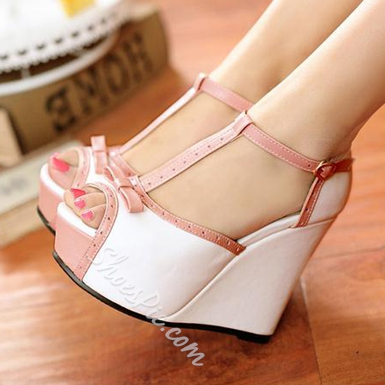 Shoespie Sweet Color Block Wedge Sandals Shoespie