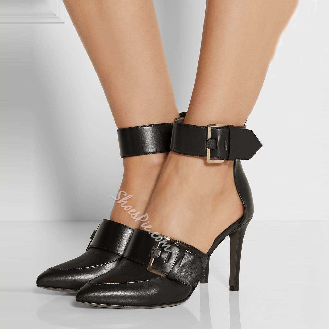 Shoespie Black Buckles Ankle Wrap Stiletto Heels Shoespie