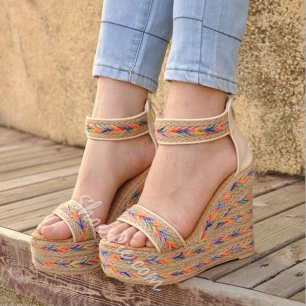 Shoespie Colorful Woven Wedge Sandals