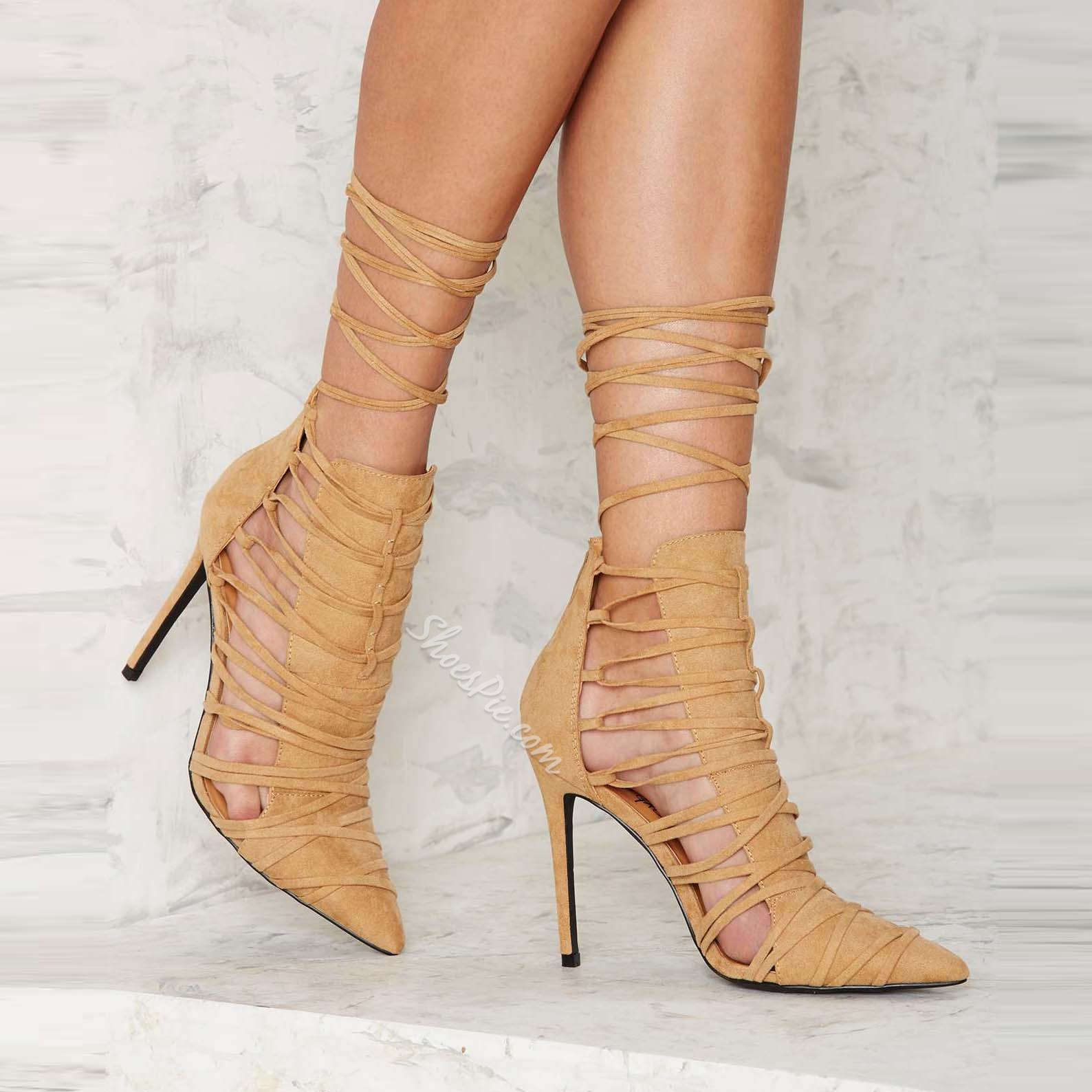 Shoespie Apricot Lace Up Stiletto Heels