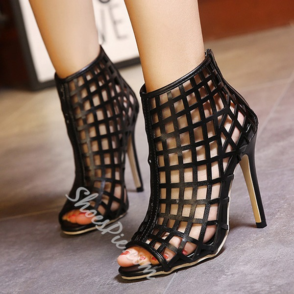 Shoespie Sexy Caged Open Toe Ankle Boots