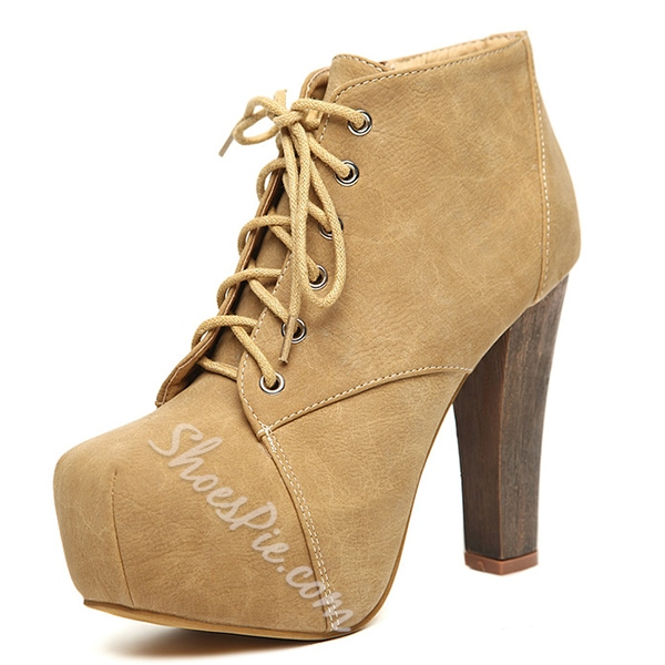 Shoespie High Quality Round Toe Chunky Heel Ankle Boots