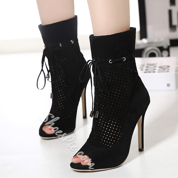 Shoespie Black Open Toe Lace Up Ankle Boots