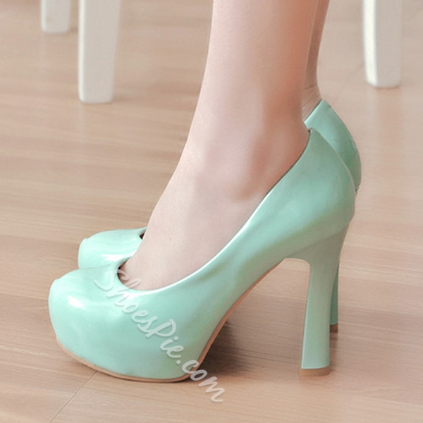 Shoespie Solid Color Chunky Platform Heels