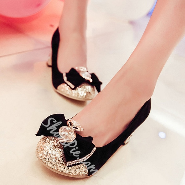 Shoespie Sequined Glittering Bowtie Chunky Low Heels