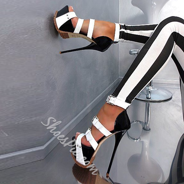 Shoespie Sexy Black and White Platform Sandals