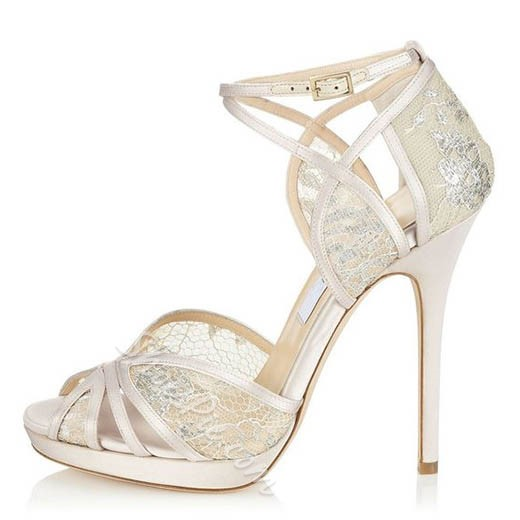 Shoespie Pure White P Toe Stiletto Heel Wedding Shoes