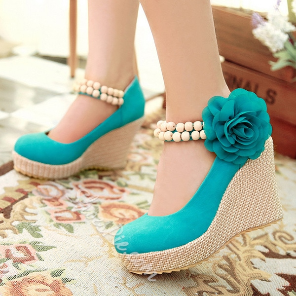 Shoespie Casual Flower Appliqued Wedge Heels