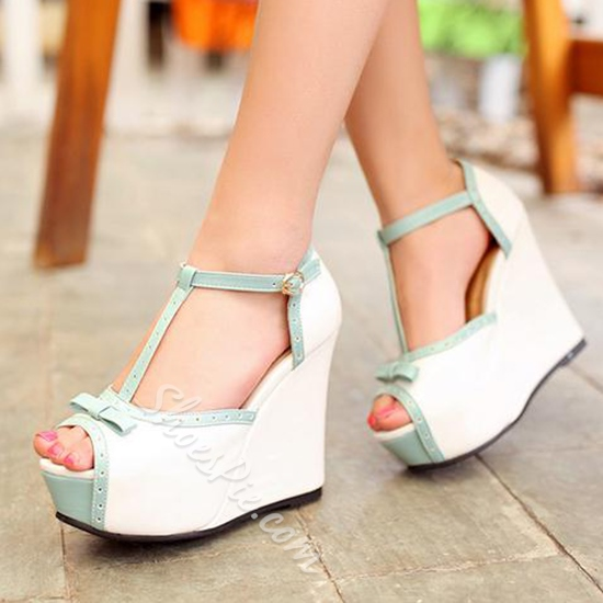 Shoespie Sweet Color Block Wedge Sandals