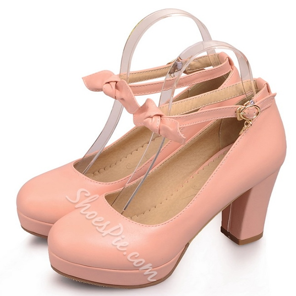 Shoespie Bow Buckle Chunky Heel 8cm Shoes