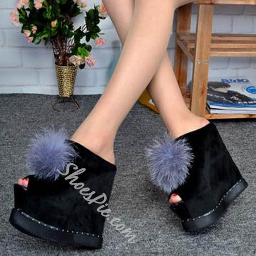 Shoespie Stylish Sky High Pompom Accented Wedge Slippers