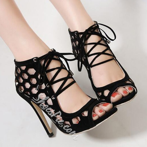 Shoespie Black Caged Lace Up Sandals