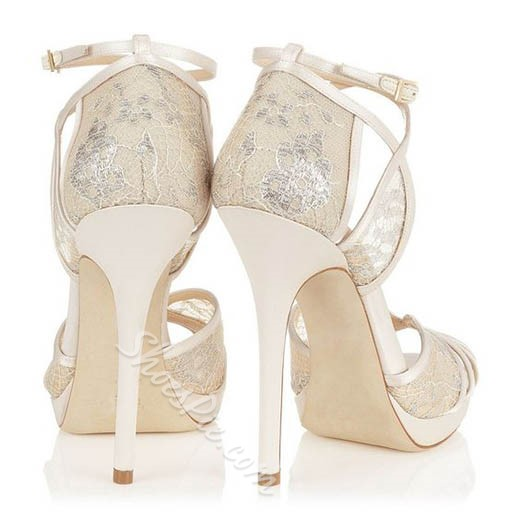 Shoespie Pure White Peep Toe Stiletto Heel Wedding Shoes