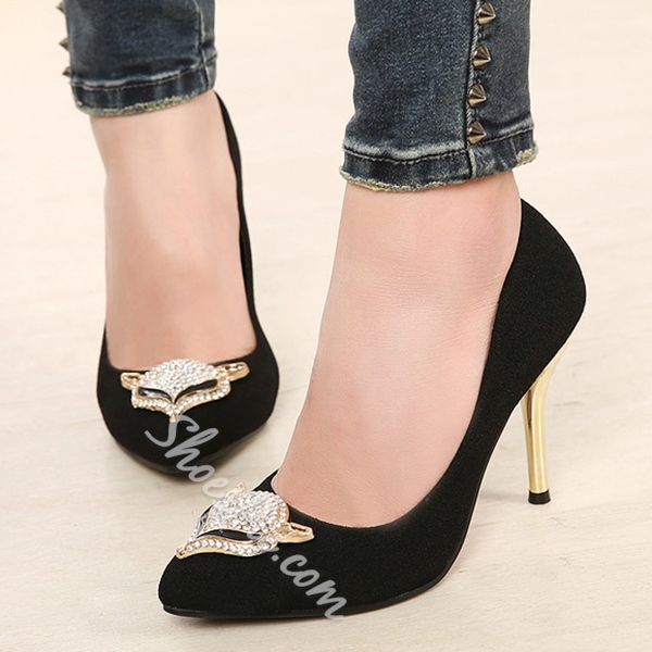 Shoespie Sequined Rhinestone Fox Appliqued Stiletto Heels