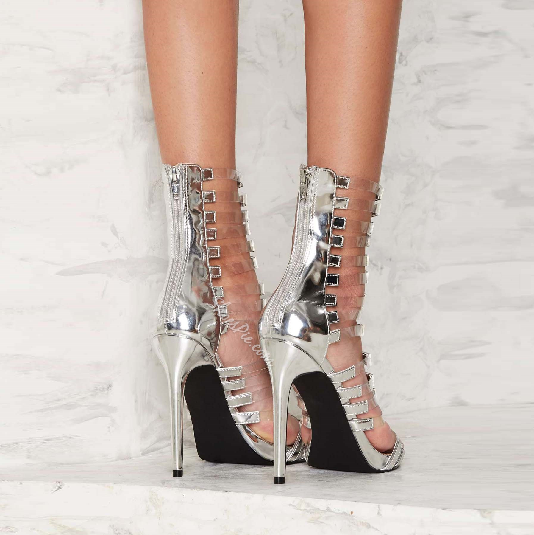Shoespie Sliver PVC Stiletto Heel Dress Sandals
