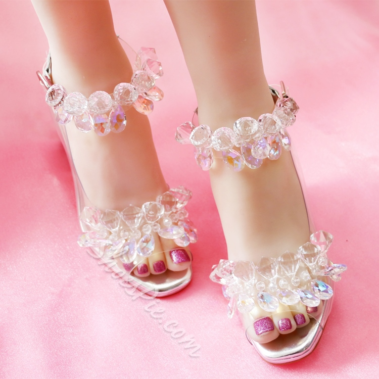 Shoespie Crystal Square Heel Wedge Sandals