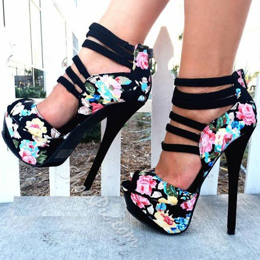 Shoespie Flower Print Peep Toe Back Zipper Platform Heels