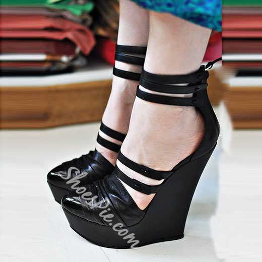Shoespie Drape Pointed Toe Wedge Heels