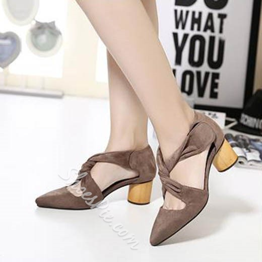 Shoespie Ribbon Strapped Low Chunky Heels
