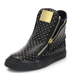 Shoespie Black Flat Rivets Side Zipper Men's Sneakers