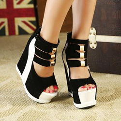 Shoespie Strappy Ankle Wrap Wedge Sandals