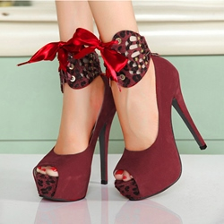 Red Platform Peep-toes Stiletto Heel with Cross Straps