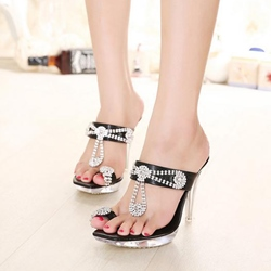 Shoespie Black Jeweled Dress Sandal Slippers