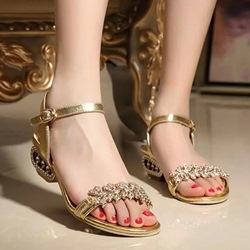 Shoespie Blingbling Rhinestones Flat Sandals