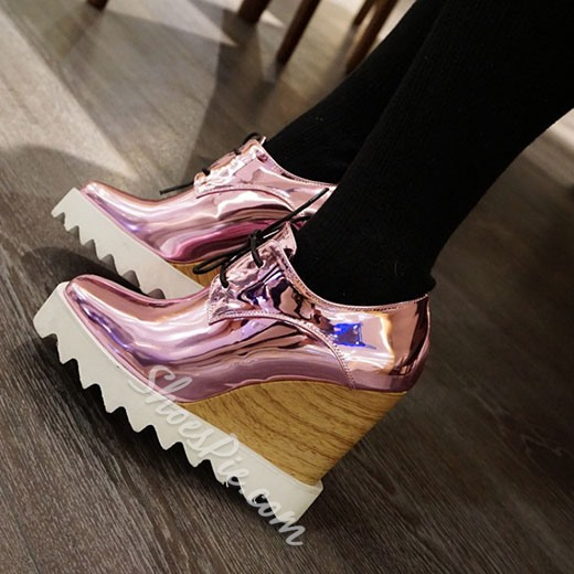 Shoespie Brush Off Wedge Heel Lace Up Shoes