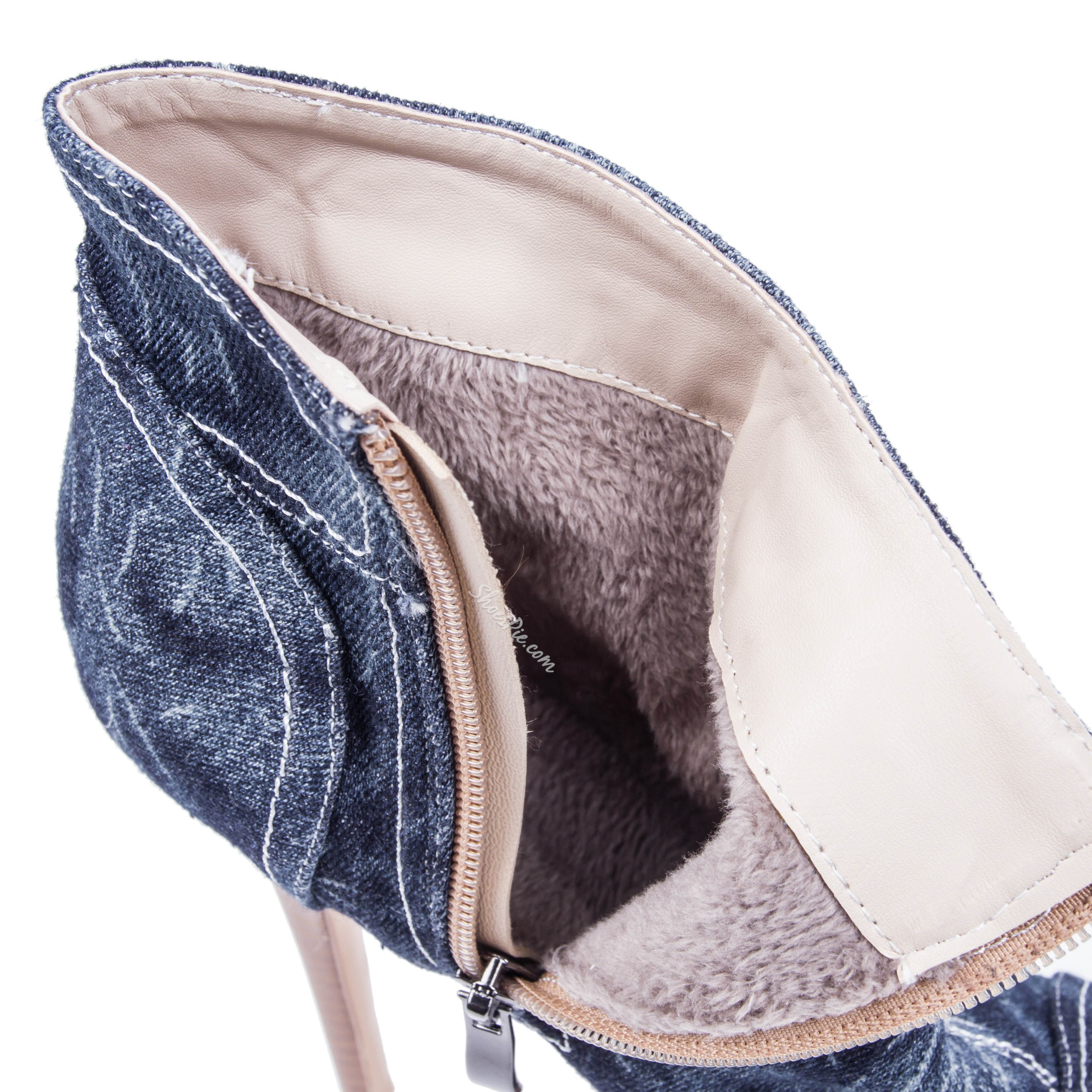 Fashionable Denim Peep-toe Ankle Boots