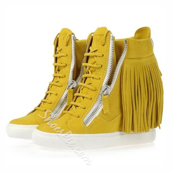 Shoespie Suede Elevated Heel Tassels Sneakers