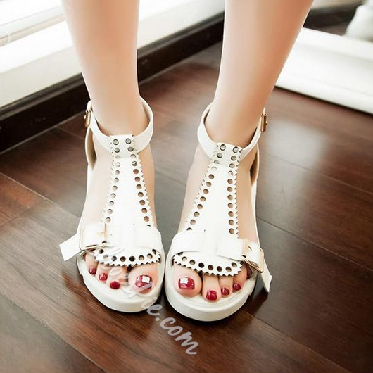 Shoespie Cute Cutout Flat Sandals