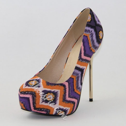 Shoespie Exotic Printed Platform Heels