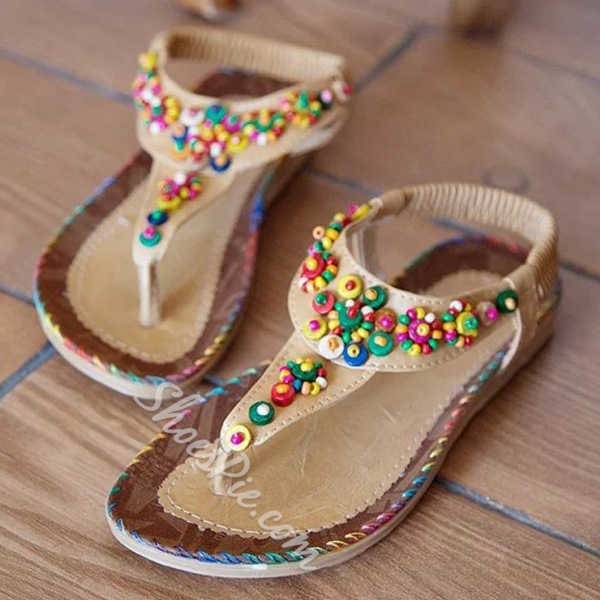 Shoespie Folk Style Beading Flat Sandals