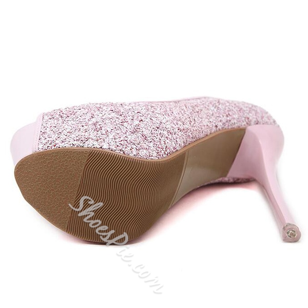 Shoespie Sequined Peep Toe Platform High Heel Pumps
