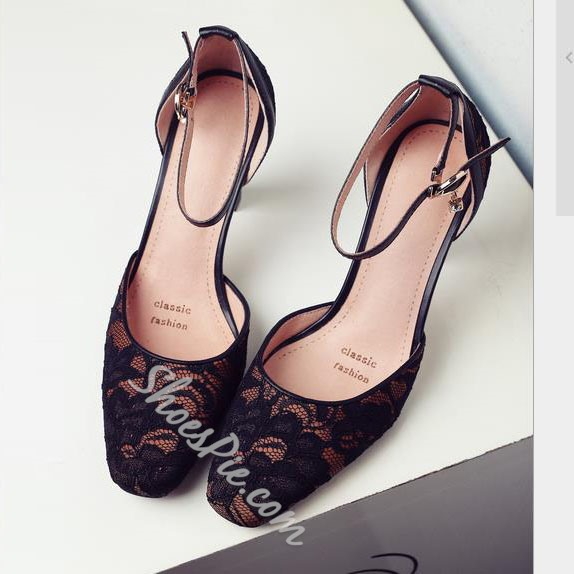 Shoespie Elegant Lace Inset Ankle Wrap Chunky Heels